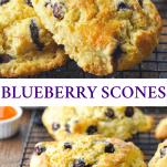 Collage pin image of an easy Blueberry Scones recipe