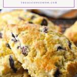 Photo of blueberry scones with text title on top