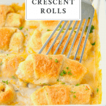 Spatula picking up chicken crescent rolls from a white baking dish with text title on top