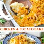Long collage image of Chicken and Potato Bake