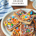 Tray of No Bake Chocolate Covered Graham Crackers with text title on top of the image