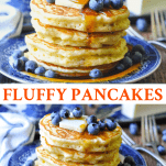 Long collage image of fluffy pancakes
