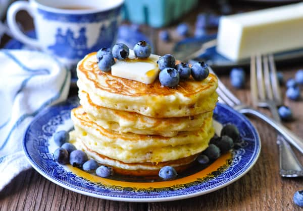 Horizontal shot of a stack of crispy and fluffy buttermilk pancakes