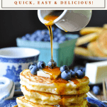 Front shot of a stack of fluffy pancakes with text title at the top of the image