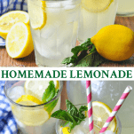 Long collage image of Homemade Lemonade
