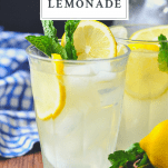 Front shot of a glass of homemade lemonade with a text title on top