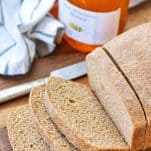 Shot from above of a loaf of sliced honey whole wheat bread
