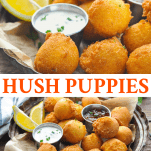 Long collage image of Hush Puppies Recipe