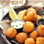 Close up side shot of a basket of Southern Hush Puppies with text title overlay