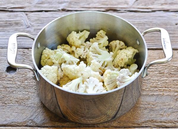 Cauliflower florets in a pan