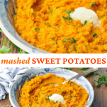 Long collage image of Mashed Sweet Potatoes recipe