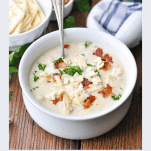Bowl of New England Clam Chowder with title in text below