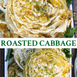 Long collage image of roasted cabbage