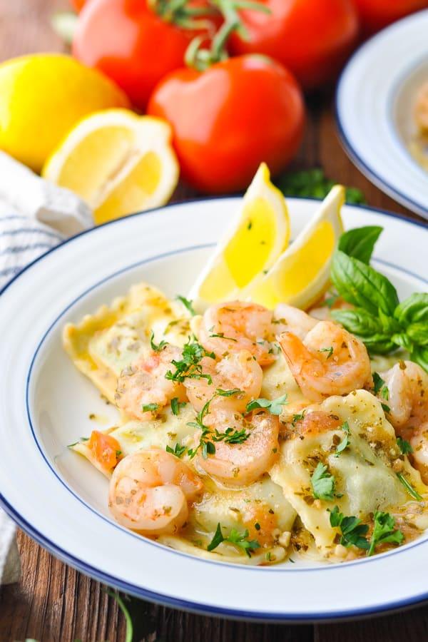 Close up side shot of a bowl of shrimp with ravioli