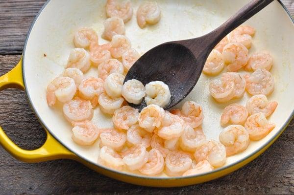 Cooking shrimp in a skillet