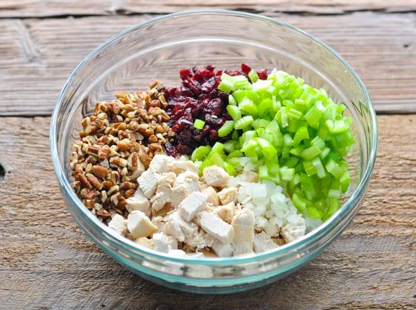 Bowl of chicken salad ingredients