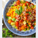 Close overhead shot of Southern Succotash with a title in text below the picture