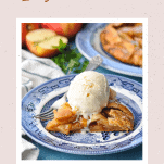 Framed image of a slice of apple galette with ice cream and text on border