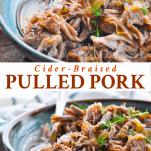 Long collage of Cider Braised Pulled Pork