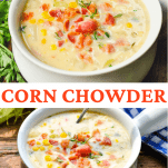 Long collage of corn chowder recipe