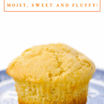 Close up shot of a corn muffin with a text title box at top