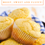 Close up shot of a basket of corn muffins with a text title box at the top