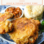 Front shot of a plate of crispy fried chicken with a text title box at the top