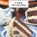 Easy chocolate cake with cream filling on a blue and white plate with a text title at the top