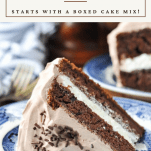 Front shot of a slice of chocolate cake on a plate with text title box at top