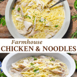 Long collage of chicken and noodles