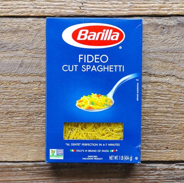 Box of cut spaghetti noodles