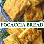 Long collage image of Focaccia Bread Recipe