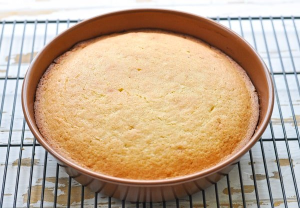 Baked coffee cake in a round pan
