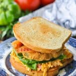 Front shot of a fried green tomato sandwich with bacon and pimento cheese