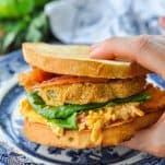 Hand holding a fried green tomato sandwich