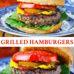 Long collage image of Grilled Hamburgers