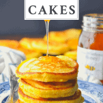 Stack of hoe cakes with a text title at the top