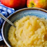 Close up front shot of a bowl of homemade applesauce