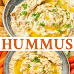 Long collage image of homemade hummus