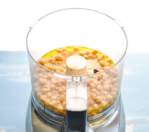 Hummus ingredients in a blender