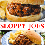 Long collage of homemade sloppy joes