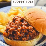 Close up shot of homemade sloppy joes with a text title at the top