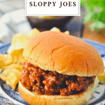 Homemade sloppy joe sandwich with a text title at the top of the image