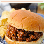 Text title box over an image of a sloppy joe sandwich