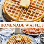 Long collage of homemade waffles