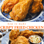 Long collage of crispy fried chicken recipe
