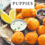 Front shot of a tray of hush puppies with text title at top in a box