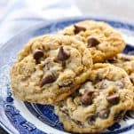 Front shot of a plate of oatmeal chocolate chip cookies
