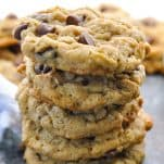 Close up shot of a stack of old fashioned Oatmeal Chocolate Chip Cookies