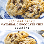 Long collage of Oatmeal Chocolate Chip Cookies